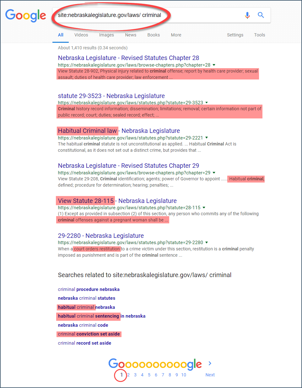 search new laws on Google
